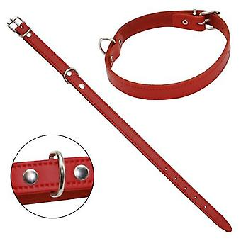 Petpall Collar Cuero Liso 30 Cm Rojo (Dogs , Walking Accessories , Collars)