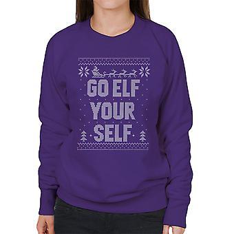 Gå Elf selv Jul Strik mønster kvinder Sweatshirt