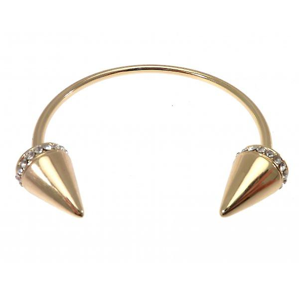 W.A.T Gold Style Open Bangle With Pointed Spikes