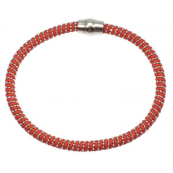 W.A.T Sterling Silver Red Cord Sparkle Magnet Bracelet