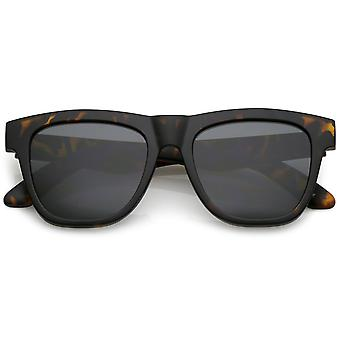 Classic Horn Rimmed Sunglasses With Thick Arms Square Flat Lens 52mm