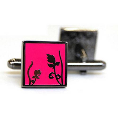 Tyler and Tyler Black Metal Spring Cufflinks - Bright Pink