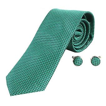 Knightsbridge Neckwear Geometric Design Tie and Cufflinks Set - Green