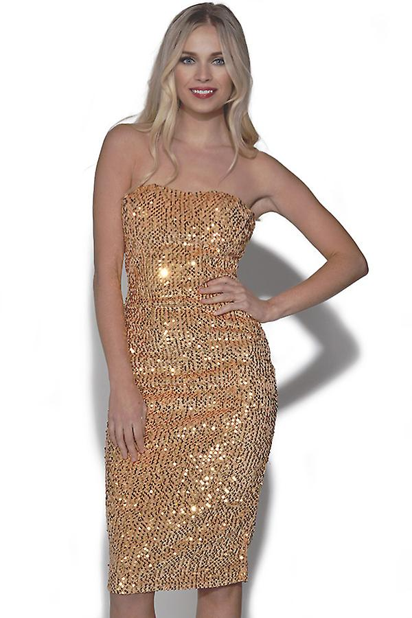 Bandeau Sequin Party Dress