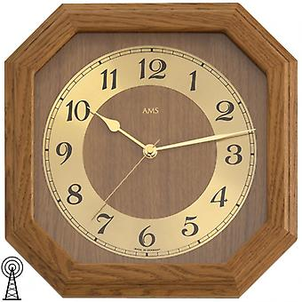Radio controlled wall clock oak wood mineral glass clock rustic with gold