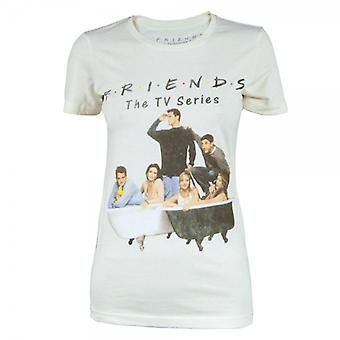 Goodie Two Sleeves Womens Retro Friends The TV Show T Shirt Biege