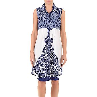 Iconique IC7-088 Women's White and Blue Floral Camisole Beach Dress