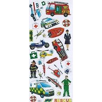 SALE -  Foiled Rescue Vehicle Sticker Sheet for Kids Crafts