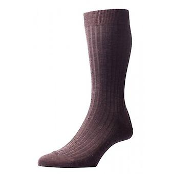 Pantherella Laburnum Rib Merino Wool Socks - Dark Brown Mix