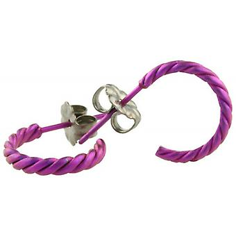Ti2 Titanium Small Twisted Hoop Earrings - Candy Pink