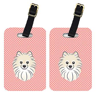 Carolines Treasures  BB1207BT Pair of Checkerboard Pink Pomeranian Luggage Tags
