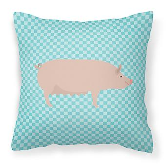 English Large White Pig Blue Check Fabric Decorative Pillow