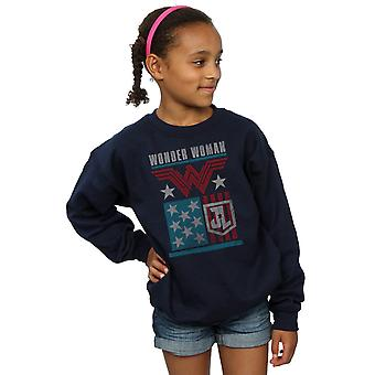 DC Comics Girls Justice League Movie Wonder Woman Flag Sweatshirt