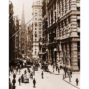 Wall Street e Trinity Church di New York 1910 Poster stampa da archivio fotografico McMahan (8 x 10)
