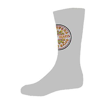 The Beatles Sgt Pepper Drum Logo Official Womens New Grey Socks (UK Size 4-7)