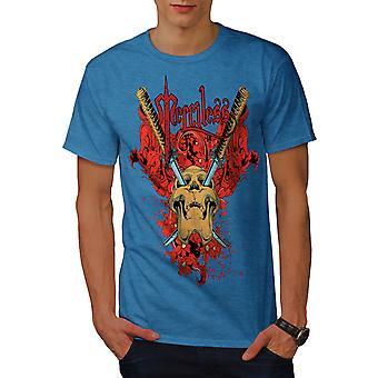 Gnadenlose Flower Skull Männer Royal BlueT-Hemd   Wellcoda