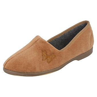 Ladies Spot On Velour Butterfly Trim Slipper
