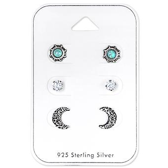 Ethnic Moon And Sun - 925 Sterling Silver Sets