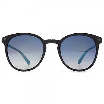Police Keyhole Round Sunglasses In Shiny Black