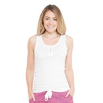Cyberjammies 3705 vrouw Joyce White effen kleur Pajama pyjama's Top