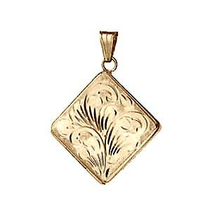 9ct Gold 22mm hand engraved flat diamond shaped Locket