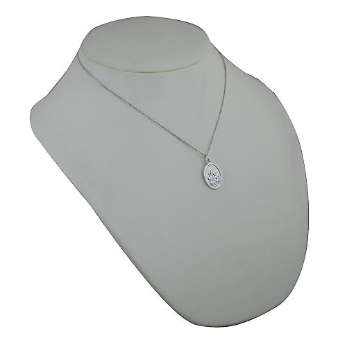 Silver 21x15mm oval St Joseph Pendant with a Curb chain
