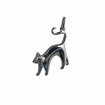 Silver 23x21mm Cat Pendant or Charm