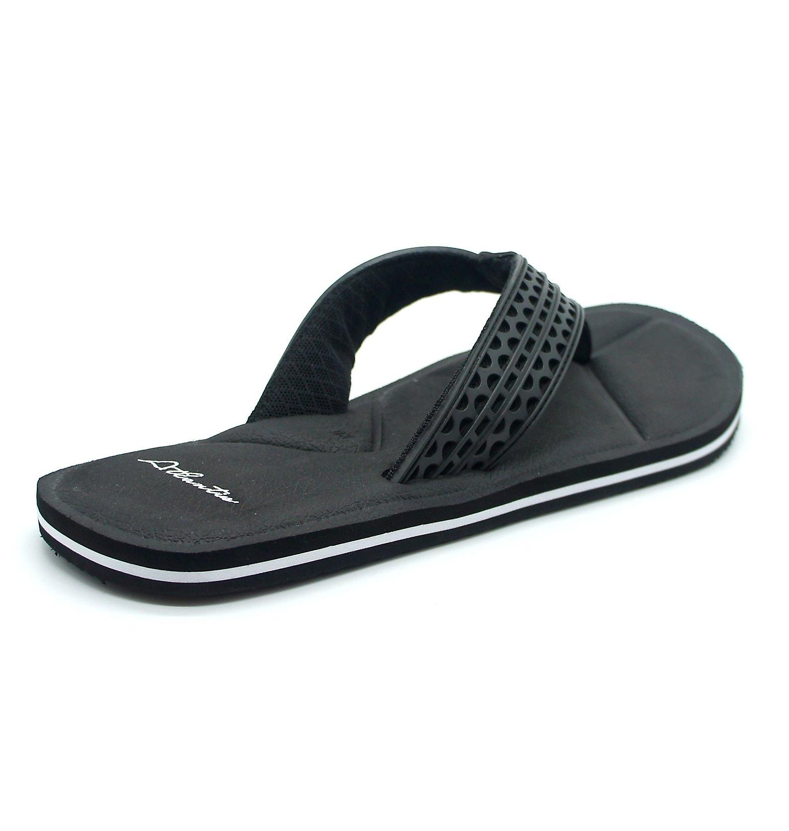 Atlantis Shoes Men Supportive Cushioned Comfortable Sandals Flip Flops Simply Colorful Black