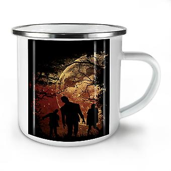 Zombie Night NEW WhiteTea Coffee Enamel Mug10 oz | Wellcoda