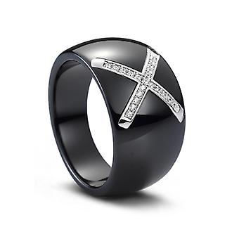 Silver ring, Black ceramic and Crystal Cubic Zirconia