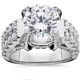 4.50 carati grandi migliorato diamante anello di fidanzamento 14k oro bianco Vintage