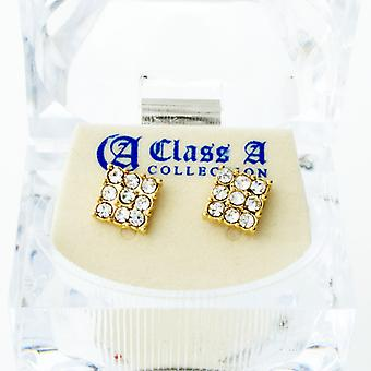Iced out bling earrings box - 3 x 3 SQUARE gold