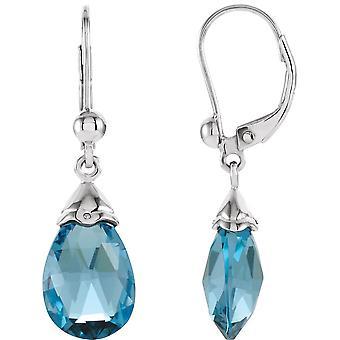 14k White Gold Swiss Blue Topaz Earring 12x8