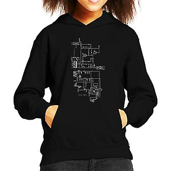 PlayStation 1 Computer Schematic Kid's Hooded Sweatshirt