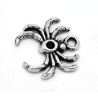 Packet 10 x Antique Silver Tibetan 17mm Spider Charm/Pendant ZX07140