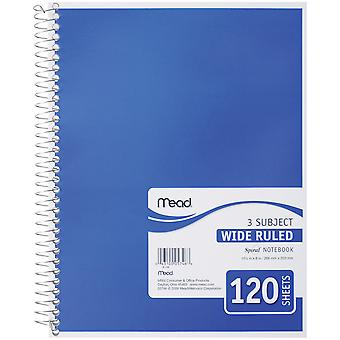 Mead 3 Subject Wide Ruled Spiral-Bound Notebook 10.5