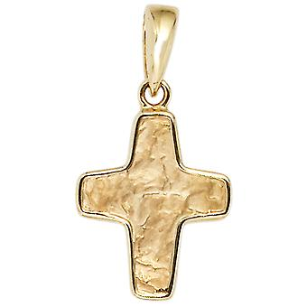 hammered gold cross pendant pendant cross 585 gold yellow gold part hammered