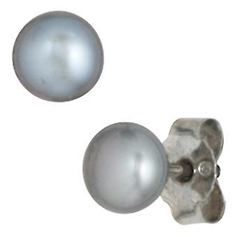 Beads 19 cm and Pearl ear plugs set of Pearl Necklace 45 cm pearl bracelet gray
