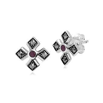 Gemondo Sterling Silver Marcasite & Ruby July Birthstone Earrings