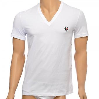 Dolce & Gabbana Sport Crest Deep V-Neck Stretch Cotton T-Shirt, White, Medium