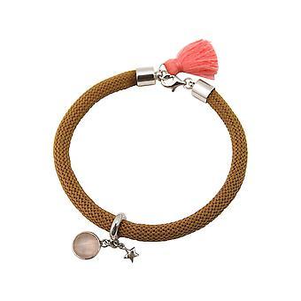 Gemshine - Damen - Armband - 925 Silber - Edelstein - Rosenquarz - STAR - Stern - Rosa - Braun