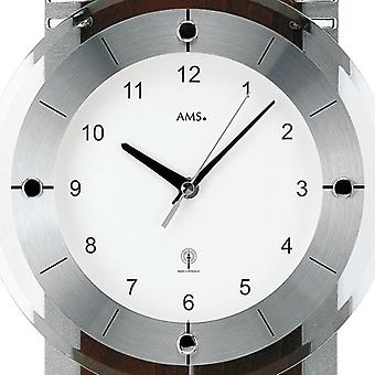 AMS wall clock radio 5245/1 with pendulum Walnut chrome applications mineral glass