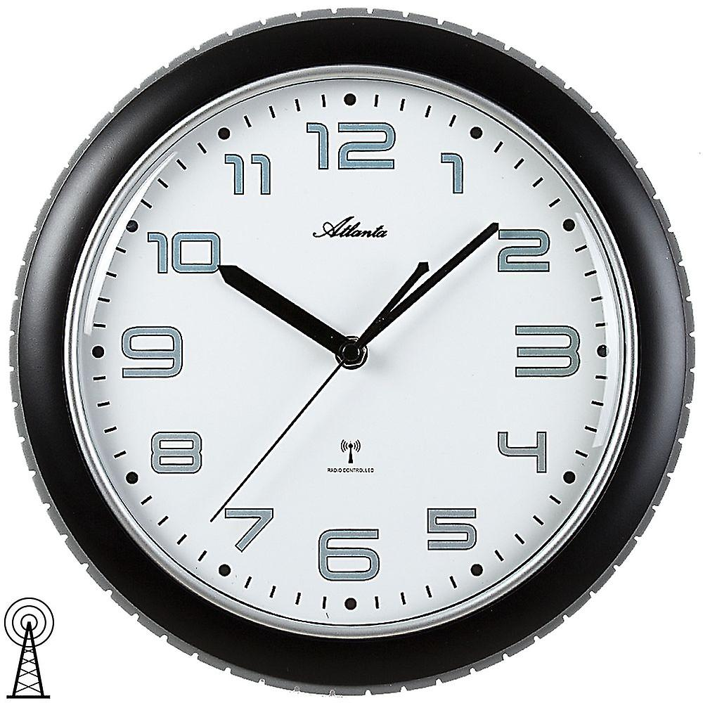 Atlanta 4387/7 wall clock radio radio controlled wall clock analog black grey round