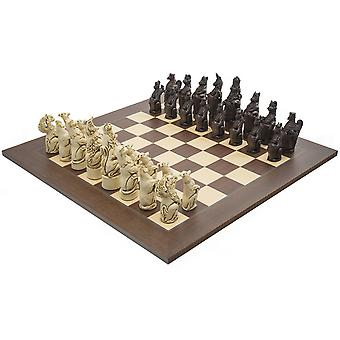 The Berkeley Chess Royal Beasts Russet and Palisander Grand Chess Set