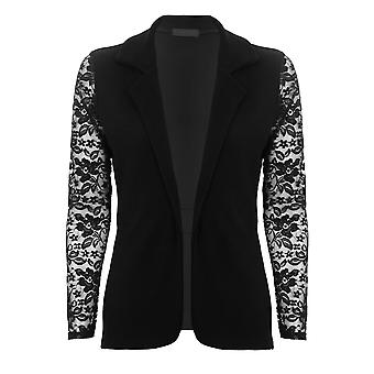 Ladies Open Front Tie Waist Crinkle Textured Floral Lace Sleeve Sexy Smart Blazer
