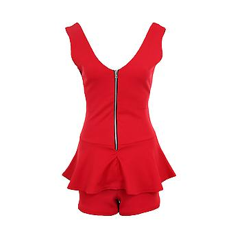 Ladies Sleeveless Zip V Front Back Peplum Short Women's Smart Playsuit