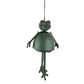 Distressed Green Aluminum Funky Frog Wind Chime