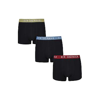Ben Sherman Underwear Men's 3 Pack Boxer Trunk Shorts Black Blue Red Yardley