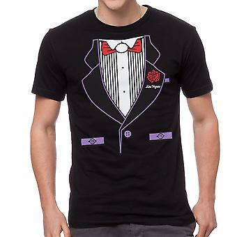 Humor Tuxedo Print Graphic Men's Black T-shirt