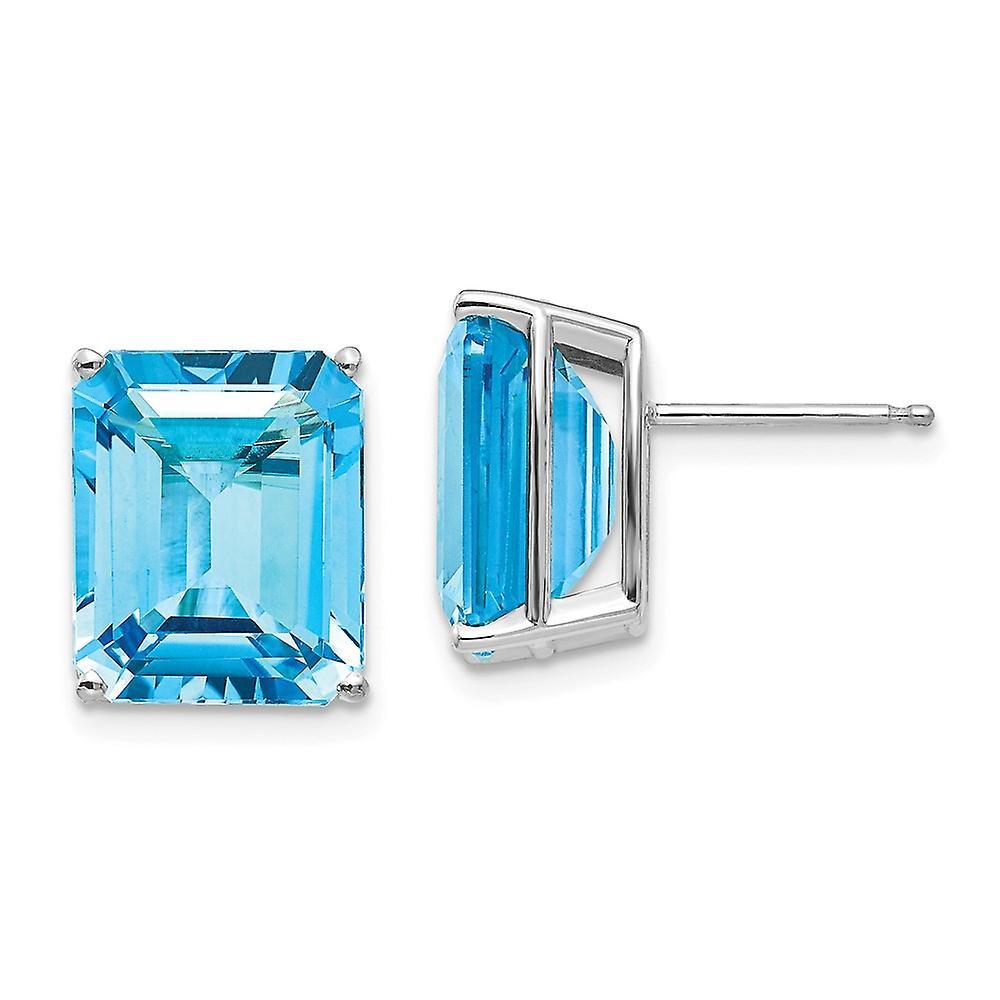 14k blanc or 12x10mm Emerald-Cut bleu Topaz boucles d'oreilles - 14.30 cwt